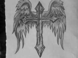 grey ink cross with wings on back