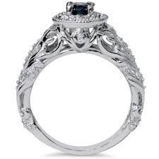 blue diamond 70ct vintage antique engagement ring filigree art