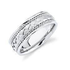 cheap white gold mens wedding bands white gold mens wedding band with woven trim