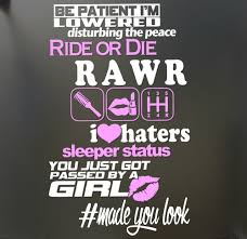 jeep girls sayings real women use 3 pedals sticker funny jdm honda race car