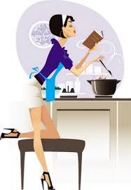 femme en cuisine qui fait la cuisine illustration cocinera png