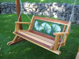 buy the wood country gingko leaf 4ft cedar wooden bench swing