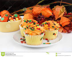 fall decorated cupcakes and halloween candy stock image image