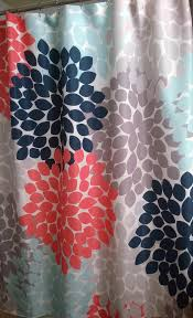 Coral And Gray Curtains Dahlia Floral Shower Curtain In Navy Coral Aqua Gray Swirled Peas