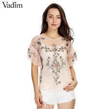 blouse ruffles flower embroidery ruffles mesh shirts see through