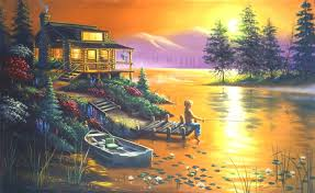 lakes nature four lakes love flowers trees beautiful paintings