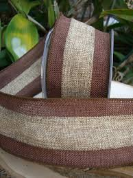burlap wired ribbon ribbon two tone brown 3in x 10 yds