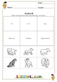 animals worksheets first grade cut and paste worksheets