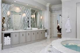 bathroom beveled mirror in great bathroom with calacatta marble