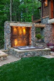 Faux Stone Patio by Deck Designs With Tub Also Balcony Wood Beams And Grass With
