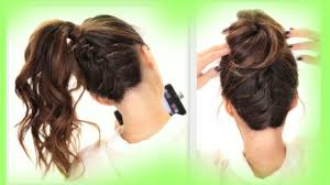 2 cute braids back to hairstyles braided messy bun