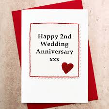 2nd wedding anniversary gift ideas handmade 2nd wedding anniversary card by arnott cards