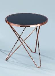 small black round table aspect porto round side coffee end l table metal copper black
