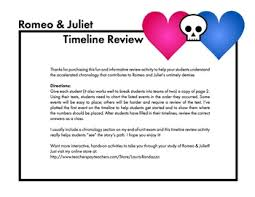 and juliet timeline review worksheet use with shakespeare u0027s play