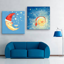 free shipping e home stretched canvas art moon and sun decoration