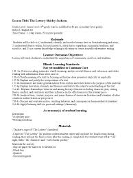 themes in the story the lottery complete lesson plan for the lottery lesson plan reading process