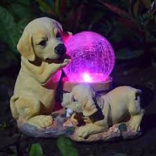 labrador puppy with crackle solar powered light outdoor