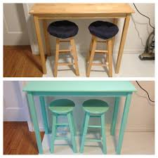 before after of the butcher block table barstools i painted a before after of the butcher block table barstools i painted a bright aqua color