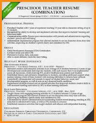 sample resume for preschool teacher resume template resume