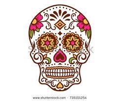 dia de los muertos sugar skulls day dead sugar skull calavera dia stock vector 735101254