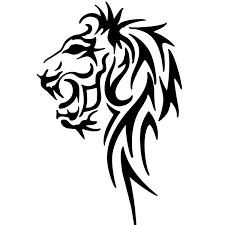 tribal lion tattoo on leg