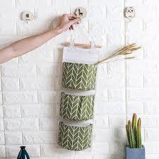 3 pockets wall hanging storage bag cotton fabric closet organizer