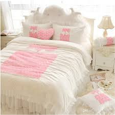 White Duvet Cover Queen Cotton Korean Pink Rose Princess Bedding Sets Queen King Lace Ruffles
