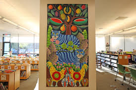 a colorful entrance for children at wilton library ring s end wilton library mural