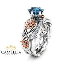 what are bridal set rings 14k white gold floral wedding ring bridal set 1ct blue topaz