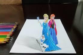 desenhando elsa anna olaf em 3d frozen draw elsa