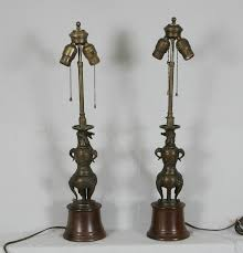 Sculpture Table Lamps 7815 Pr 19thc Chinese Bronze Dragon Sculpture Table Lamps For Sale