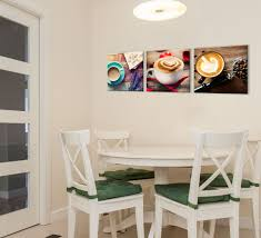 coffee theme art print kitchen decor 3 piece set