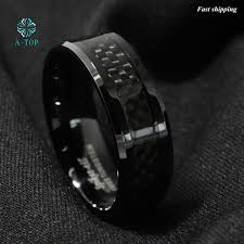 free wedding band men s jewelry tungsten ring with carbon fiber 8mm black wedding