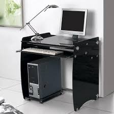 Black Computer Desk Black U0026 Clear Glass Computer Desk Workstation Large Kk Furniture
