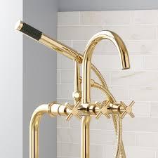 Polished Brass Bathtub Faucets Sebastian Freestanding Tub Faucet Supplies Valves Cross