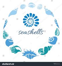 template sea shells circle on white stock vector 606989795