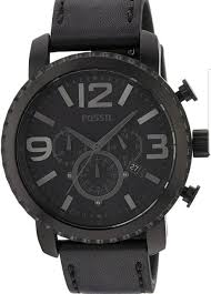 fossil steel leather bracelet images Fossil bq1711 chronograph gage analog black dial men 39 s watch ebay jpg