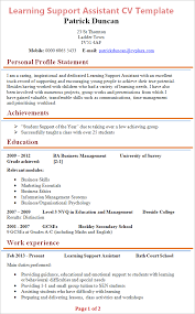 learning support assistant cv example tips and download u2013 cv plaza