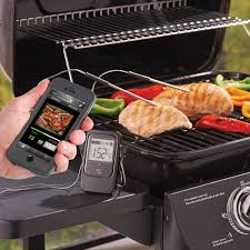 thermom re de cuisine the smartphone alerting barbecue thermometer hammacher schlemmer