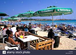 agia napa beach bar at nissi beach south cyprus europe stock
