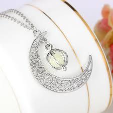 stone pendant necklace wholesale images Fashion women 39 s stone shine moon charm luminous stone necklaces jpg
