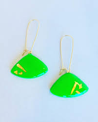 emerald green earrings zella emerald green flat triangle earrings general store