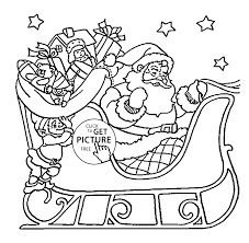 claus on sleigh coloring pages for kids printable free with santa
