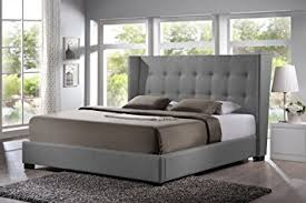 King Bed Frame Upholstered Baxton Studio Favela Linen Modern Bed With Upholstered