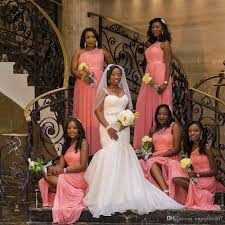 2017 africa black coral bridesmaid dresses one shoulder floor