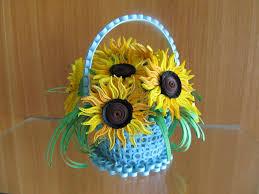 basket with sunflowers handmade home decor summer decor 3d