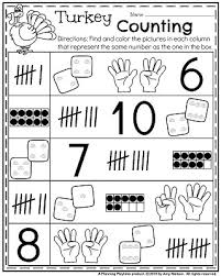 fall kindergarten worksheets for november kindergarten math