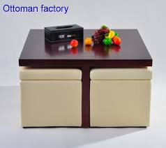 coffee table with four storage footstool ottoman
