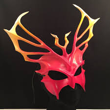 festival mask red fire leather mask cosplay demon mask triton