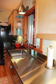 stainless steel countertop with built in sink stacia s one piece custom kitchen stainless steel sink and counter